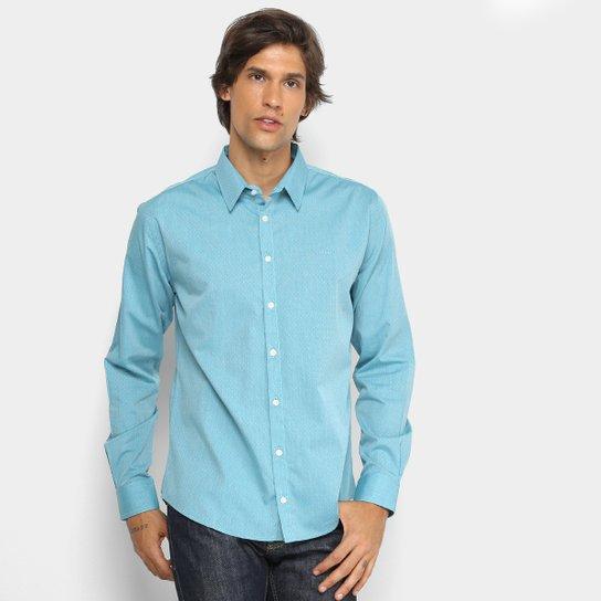 Camisa Colcci Slim Manga Longa Masculina - Azul e Branco - Compre ... db5a53d7c04