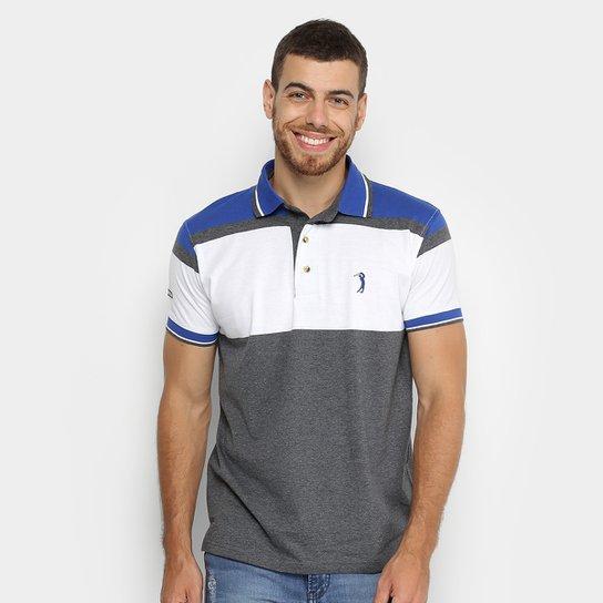 f5a9ef068d Camisa Polo Aleatory Listrada Masculina - Azul e Branco