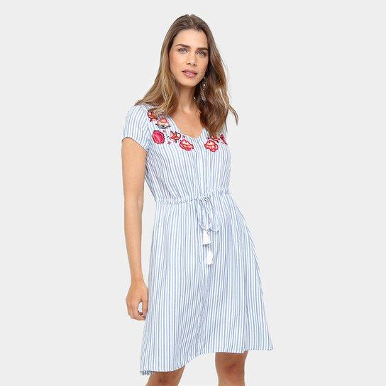 06fdb6147 Vestido Malwee Curto Evasê Listrado com Amarração - Azul+Branco