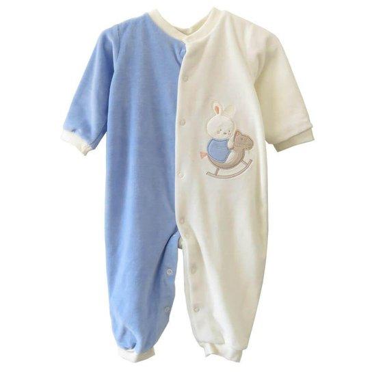 d9c62d60a56d9e Macacão Bebê Bebê Fashion Bebêplush Upa Upa Cavalinho Masculino - Azul e  Branco
