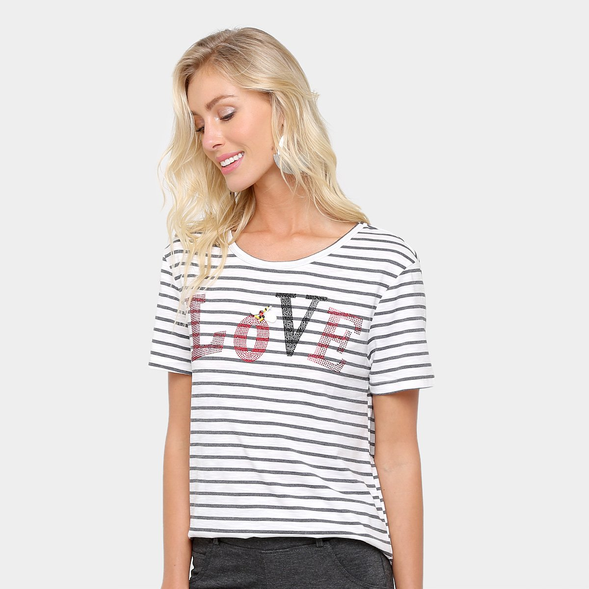 d1c0a43bf FornecedorZattini. Camiseta Facinelli Listrada Love Feminina
