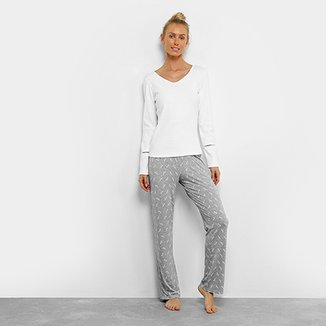 c42bf1665 Pijama SonnoVinci Longo Canelado Feminino