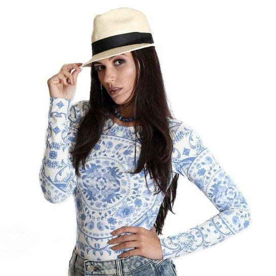 488a45124f798 Blusa Ficalinda Manga Longa Proteção UV Fashion 50+ Feminina - Azul+Branco