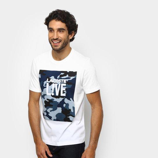 Camiseta Lacoste Live Camuflada Masculina - Branco e Azul - Compre ... baa2195176