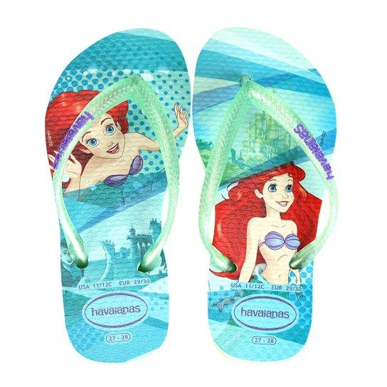 6ab3e9ece2 Chinelo Infantil Havaianas Slim Disney Princesas - Verde - Compre ...