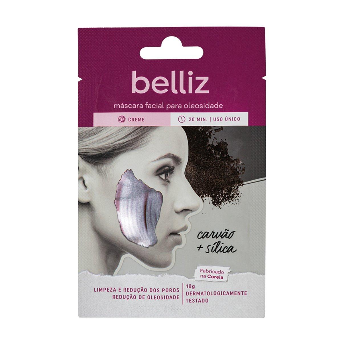 Máscara Facial Belliz Para Oleosidade Com Carvão e Silica
