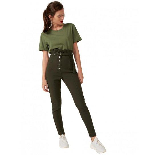 Calça Amaro Skinny Clochard Botões Feminina - Verde - Compre Agora ... a871cf9053