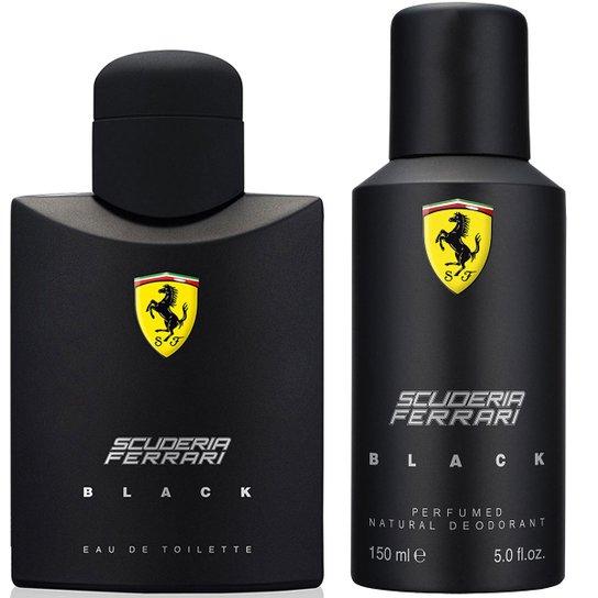 bcc85effc KIT FERRARI PERFUME MASCULINO BLACK EDT 125ML + DESODORANTE MASCULINO BLACK  150ML - Incolor