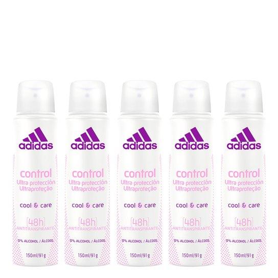 a205ad370c Kit 5 Desodorantes Aerosol Adidas Feminino Cool & Care Control 150ml -  Incolor