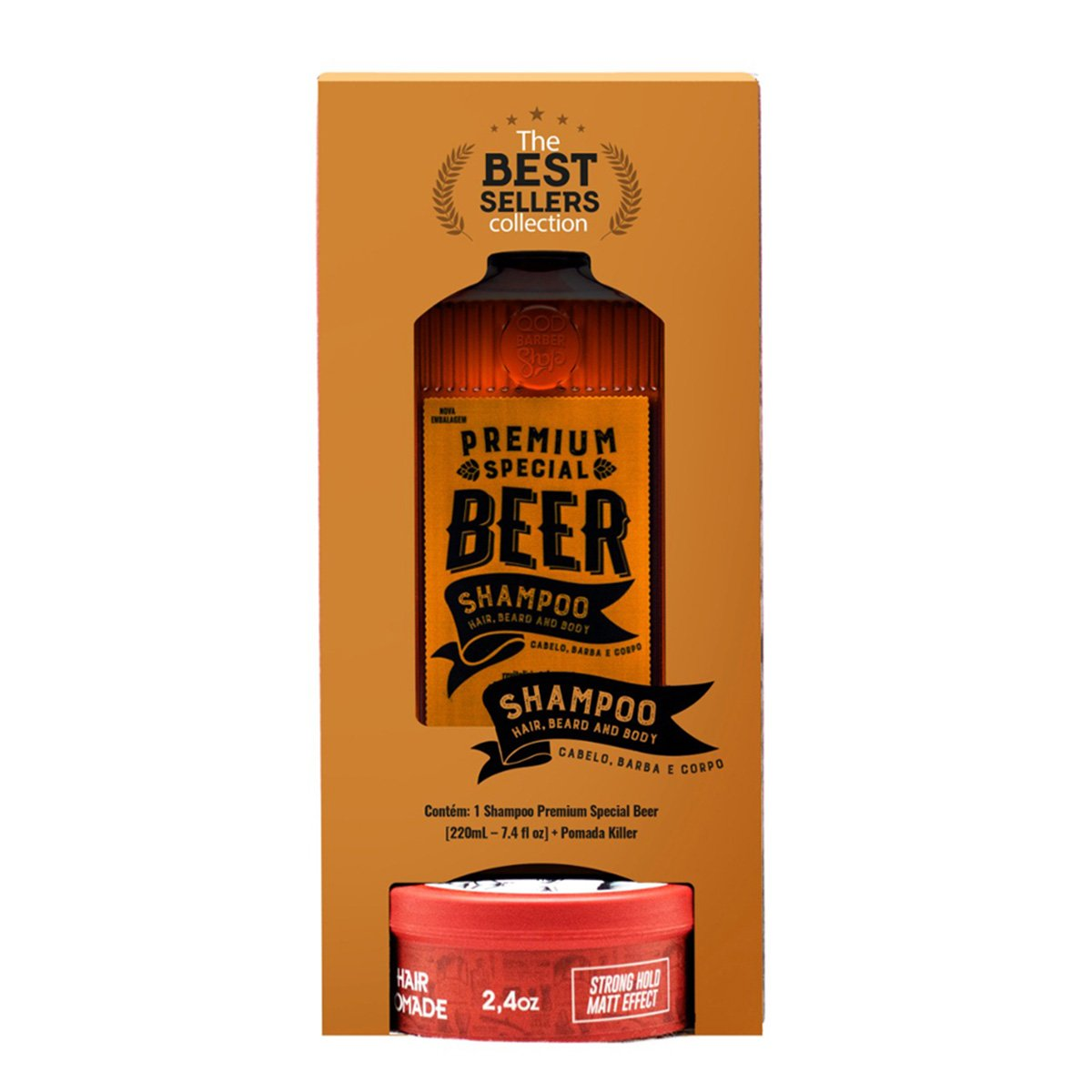 Kit QBS Shampoo Premium Special Beer 200ml + Pomada de Cabelo Killer