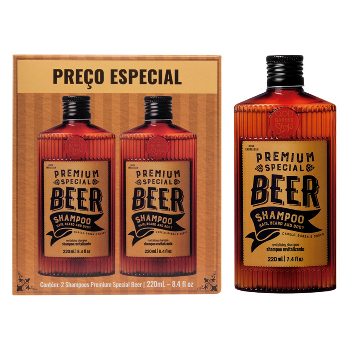 Kit 2 Shampoos Qbs Premium Beer 440ml