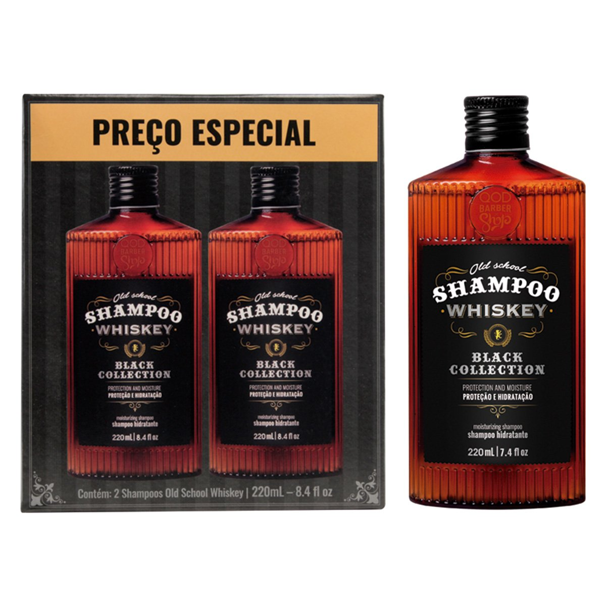 Kit 2 Shampoos Qbs Whiskey 440ml