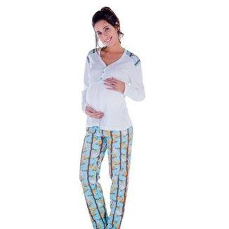 5b2bd0fd8 Pijama Feminino Victory Inverno Frio Gestante Mamãe Dormir