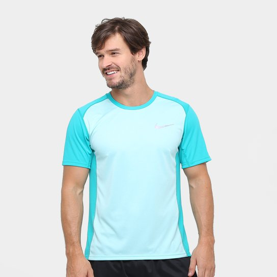 Camiseta Nike Dri-Fit Miler SS Masculina - Azul Piscina - Compre ... 35aa297abd2