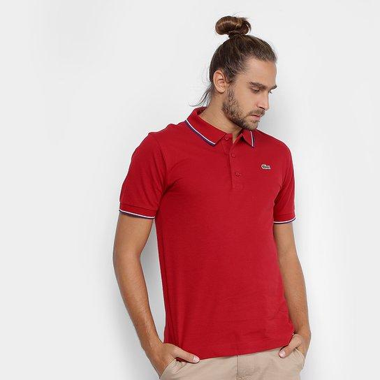 c9b39763a2 Camisa Polo Lacoste Bordada Masculina - Vermelho e Azul - Compre ...
