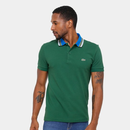 Camisa Polo Lacoste Piquet Regular Fit Gola Color Masculina - Compre ... a2807d5482
