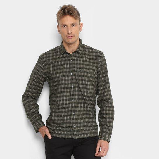 Camisa Xadrez Lacoste Listras Bolso Regular Fit Masculina - Verde ... 272f6ee6ab