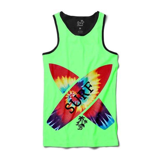 Camiseta Long Beach Regata Prancha Tie Dye Sublimada Masculina - Verde 0fe873d5851