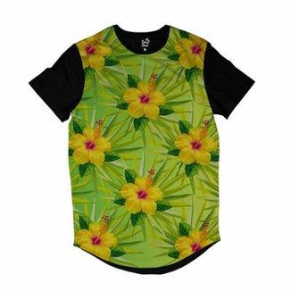Camiseta Longline Long Beach Flores e Folhas Sublimada Masculina 57555375822