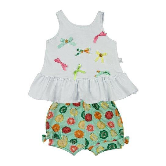 Conjunto Bebê Cotton e Estampa Digital Frutas Lacinhos Ano Zero - Verde bfec133353bc4