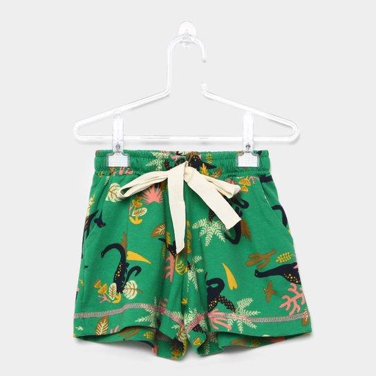 Shorts Infantil Fábula Estampado Dinossauros Feminino - Verde ... 11c73874152