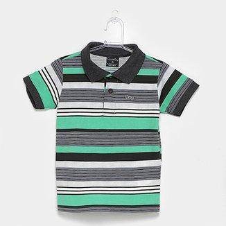 Camisa Polo Infantil Quimby Estampa Listrada Feminina 07adb26d687cc