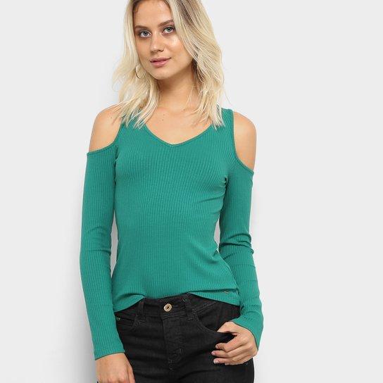 3b84c2ca3e Blusa Colcci Manga Longa Recorte Ombro Feminina - Verde