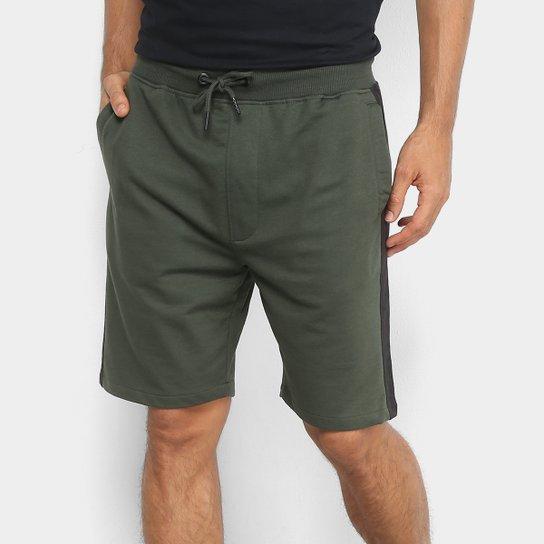 952100018f Bermuda Moletom Ellus 2nd Floor Jogger Faixa Lateral Masculina - Verde