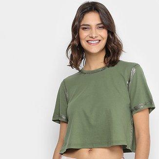 0b3af22b0 Camiseta Lança Perfume Cropped Contorno Metalizado Feminina