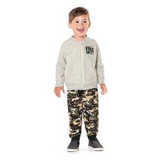 181e98b180 Conjunto Moletom Infantil Fakini Estampa Camuflada Masculino