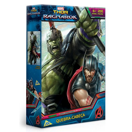 78956f804 Quebra-Cabeça - Thor Ragnarok - 200 Peças - Marvel - Disney - Jak ...