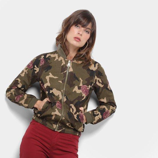 48115b794 Jaqueta Lily Fashion Bomber Camuflada Feminina   Zattini