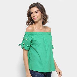 e4e142307c Blusa Ombro a Ombro Lily Fashion Pérolas Feminina