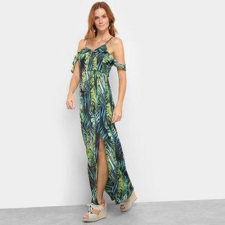 b1ecb1b34 Vestido Lily Fashion Longo Open Shoulder Chiffon Folhagem
