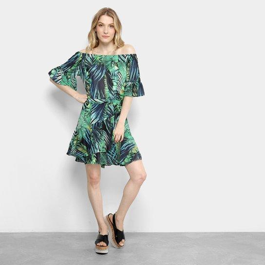 50631612c Vestido Ombro a Ombro Holin Ston Estampado Folhagem Feminina - Verde ...