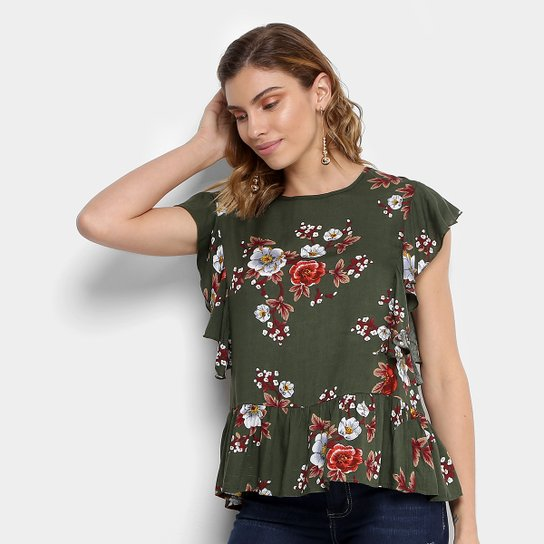 Blusa Estampada Floral Mixxon com Babado Feminina - Compre Agora ... 142c47e372872