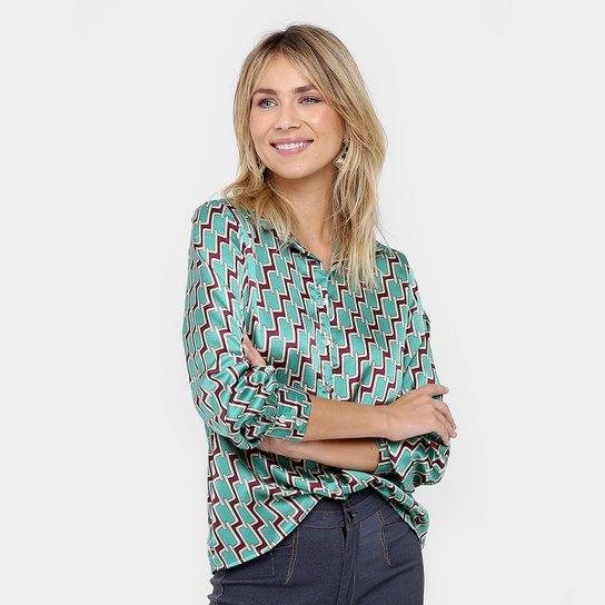 7545ecf272 Camisa Forwhy Cetim Estampada Feminina - Verde