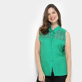fff17062e8 Camisa For Why Cavada Guipir Tiras Costas Feminina