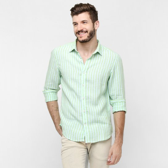 Camisa Richards Linho Listrada - Compre Agora   Zattini 0167c8f40e
