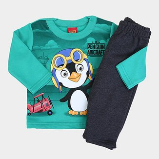 114ea86551 Conjunto Infantil Kyly Pinguim Peluciado Masculino