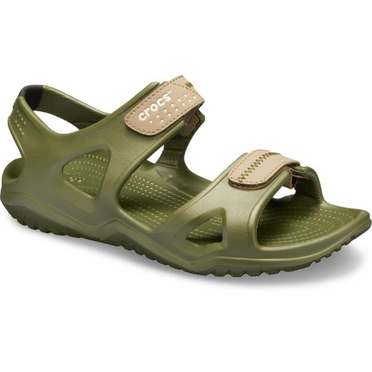 d376b844c Sandália Crocs Swiftwater River Sandal Masculina - Verde - Compre ...