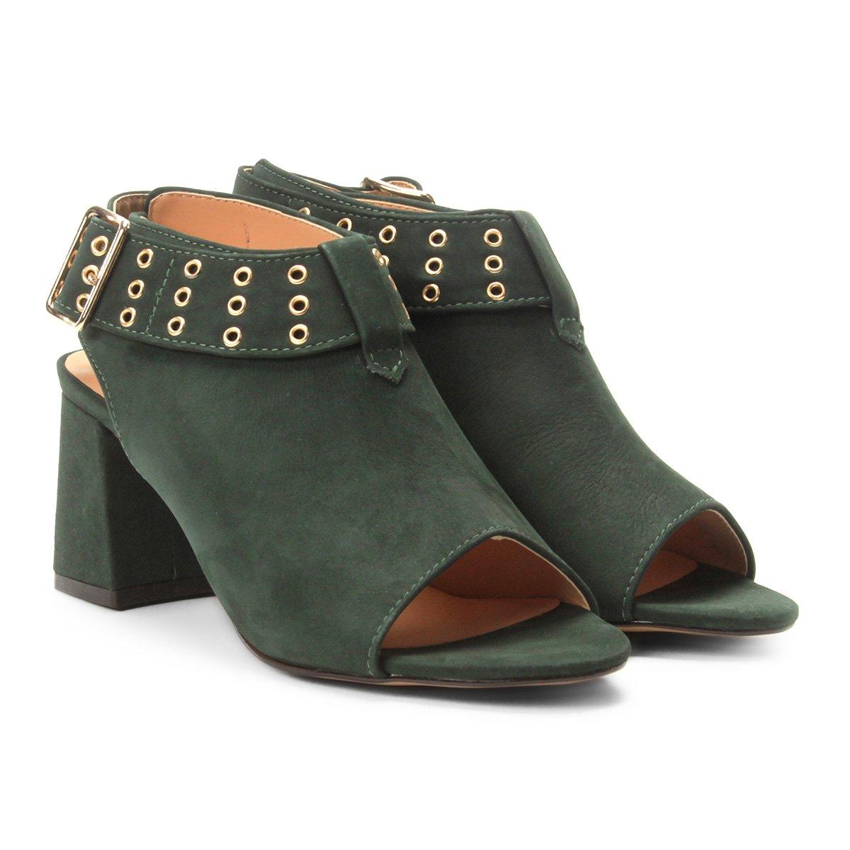 4483df2d75 Ankle Boot Couro Mezzo Punto Salto Bloco