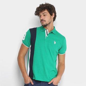 Camisa Polo U.S. Polo Assn Piquet Recorte Vertical Masculina ff31888c7f2c4
