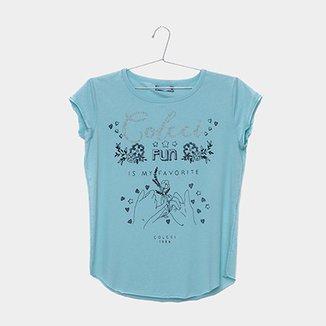 Camiseta Infantil Colcci Estampada com Brilho Feminina 0e6e3c43dd332
