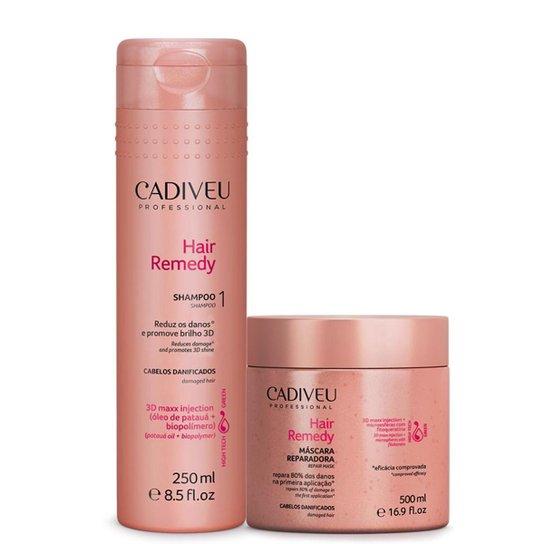 8187bab9e Kit Cadiveu Hair Remedy 1 Máscara Reparadora 500g + 1 Shampoo 250ml -  Incolor