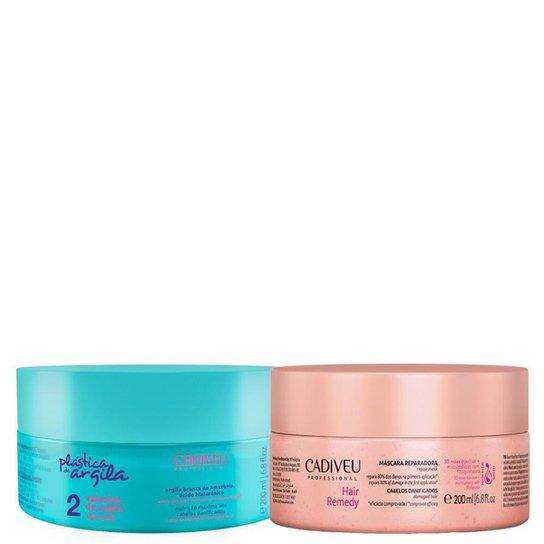 fa51945b6 Kit Cadiveu Máscara Reparadora Hair Remedy Plástica Argila 200g + 1 Máscara  200ml - Incolor