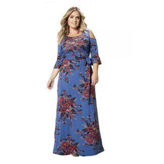 1c09226a8c Vestido Longo em Viscose Stretch Floral Wee! Plus Size