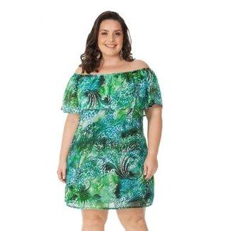 9f1eeb1c9d Vestido Beline Plus Size Ombro A Ombro Estampado Verde Miss Masy