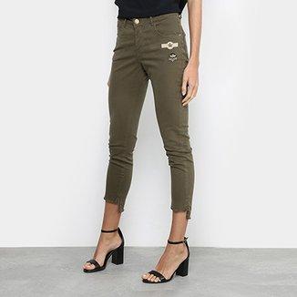 6190439434 Calça Skinny Uber Jeans Patches Cintura Média Feminina