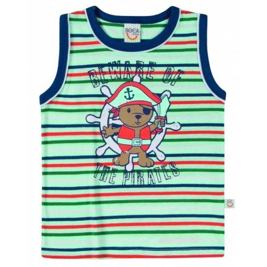 Camiseta Regata Infantil Boca Grande Listrada Masculino - Verde ... ae0d4bb2bfa